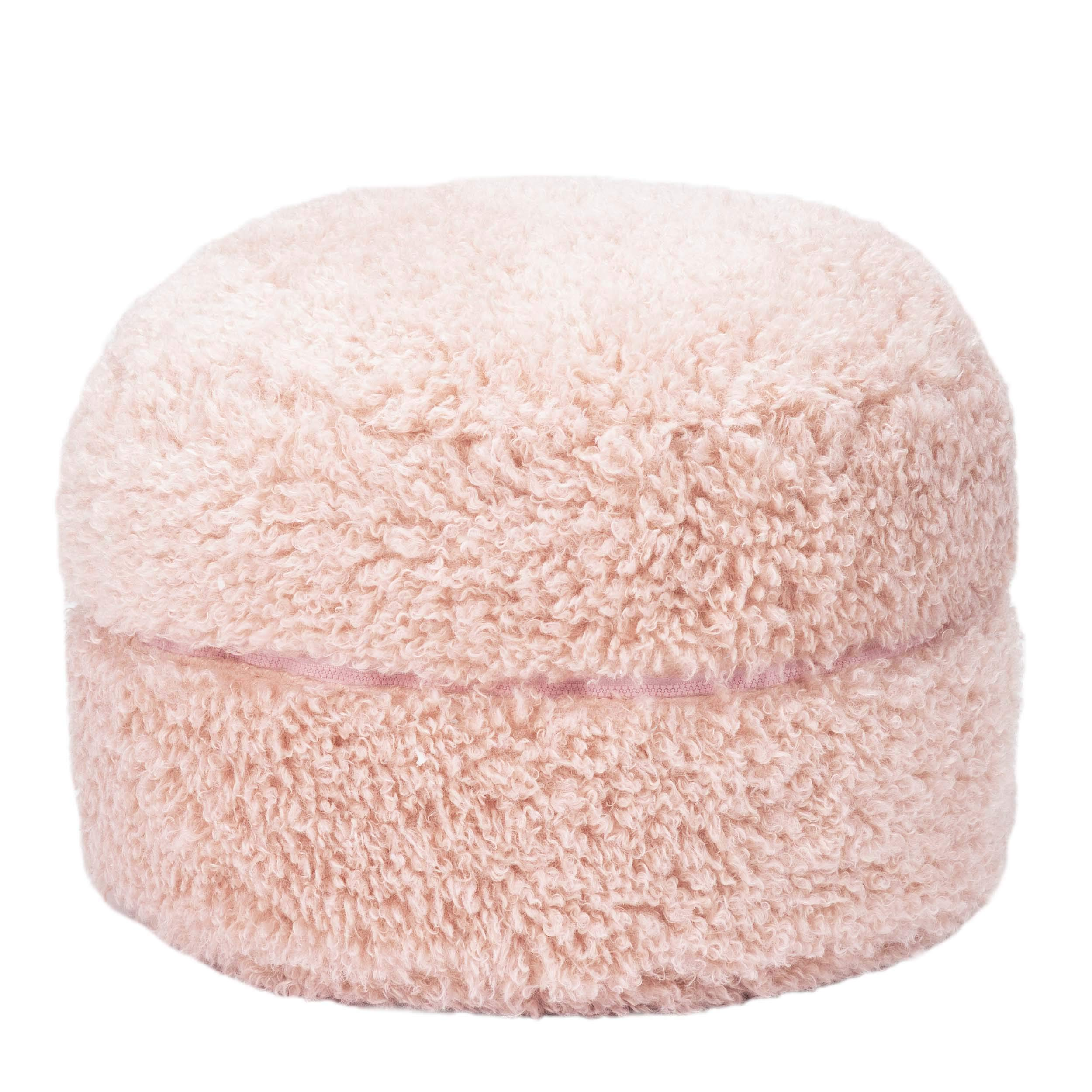 Mimish Poodle Faux Fur Storage Pouf for Kids -Kids Storage Ottoman - Great Kids Storage and Dorm Storage -Pale Lilac