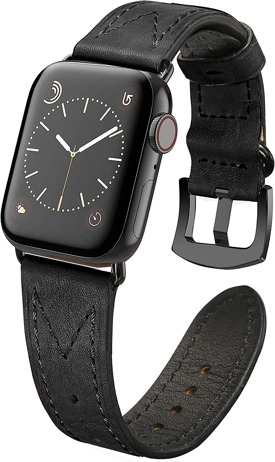Secbolt Leather Bands Compatible with Apple Watch Band 38mm 40mm iWatch Series 6/5/4/3/2/1 SE, Soft Top Grain Genuine Leather Wristband Strap Accessories Women Men, Black 2 (38/40mm)