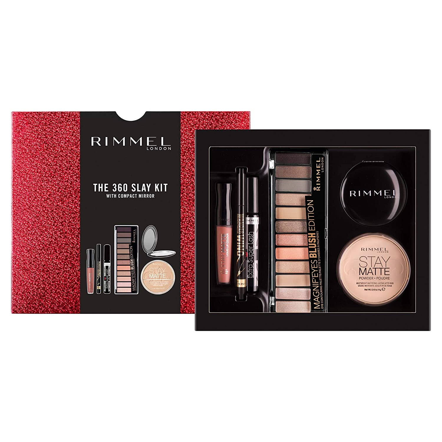 d299b3cfee4 Rimmel The 360 Slay Kit Gift Set (includes Stay Matte Powder, Stay Matte  Liquid Lipstick, Wonder Wing Eyeliner, Extra Super Lash Mascara, Magnif'eyes  12 Pan ...