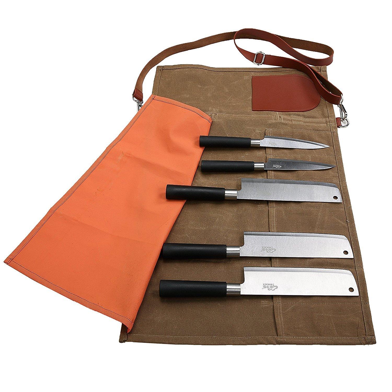 Fushida Camping Resistente al Agua Estuche para Cuchillos de Chef Color marr/ón Estuche de Almacenamiento para Caza 8 Compartimentos Resistente Bolsa de Lona Encerada para Cuchillos