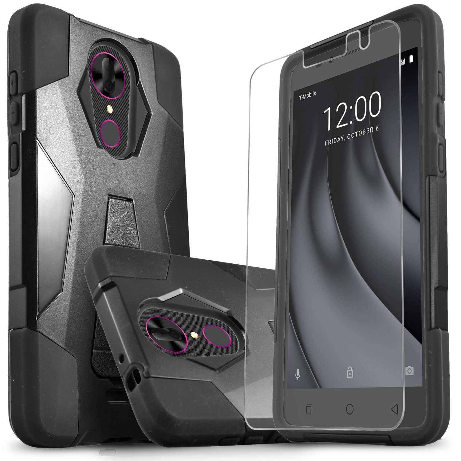 T-Mobile Revvl Plus Case, CoolPad Revvl Plus Case, Starshop Durable Rugged Shell Hybrid Protective Phone Cover with Built in Kickstand with [0.33m 9H ...