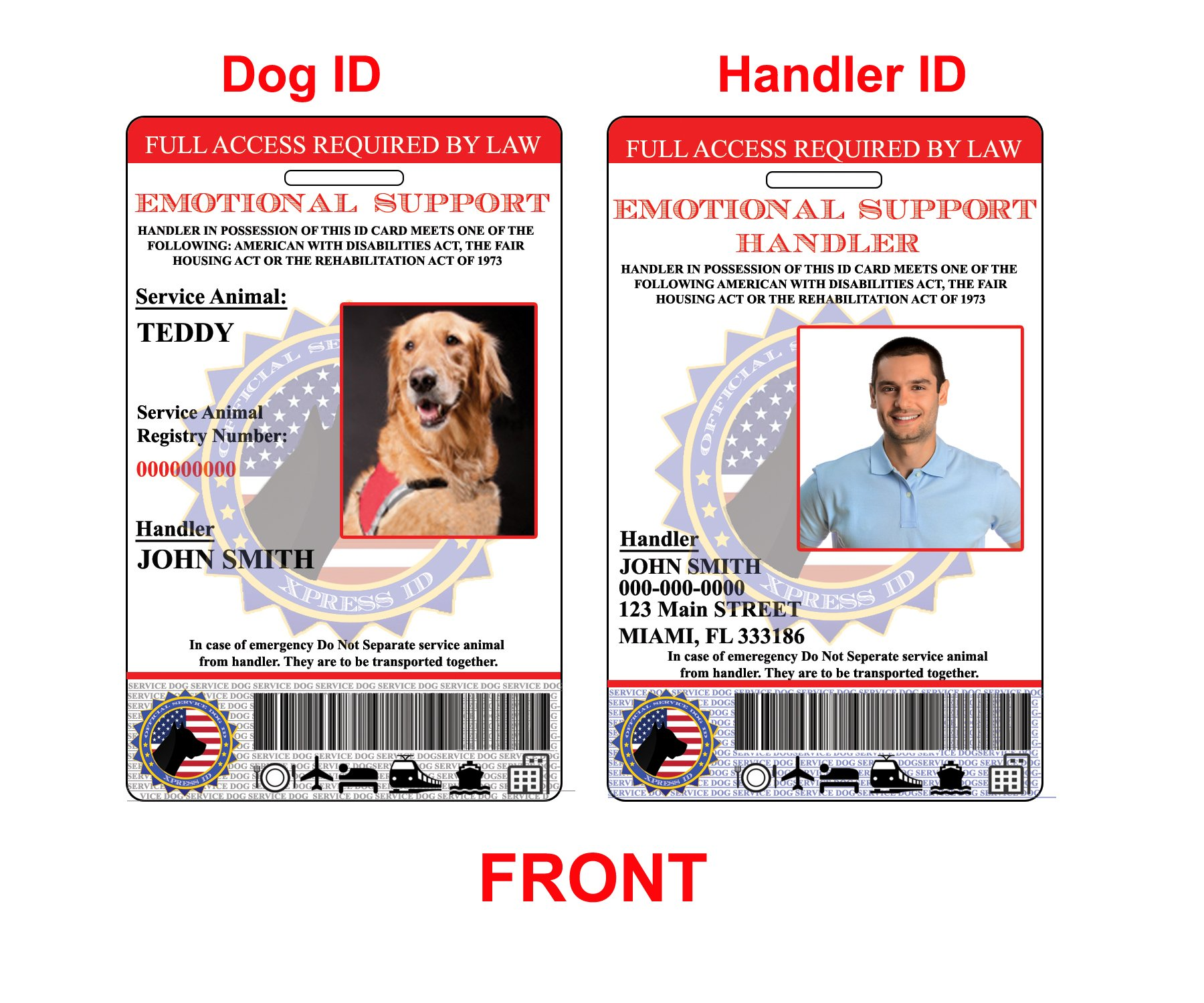 XpressID Holographic Emotional Support Dog & Handler ID Card   Includes Registration to National Dog Registry by Xpress ID (Image #1)