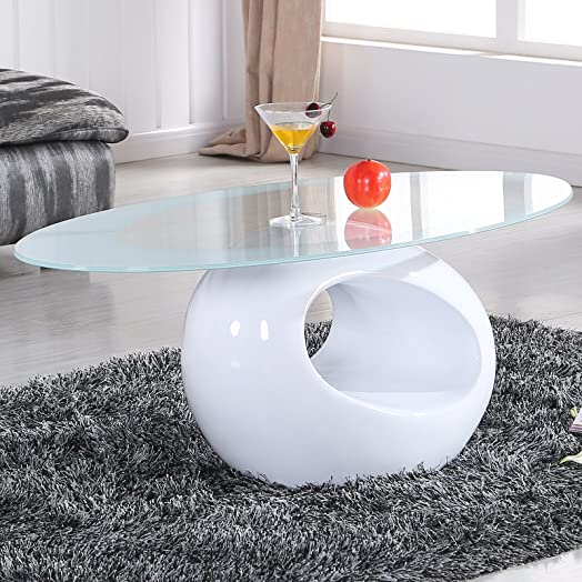 UEnjoy White Glass Oval Coffee Table Contemporary Modern Design ...