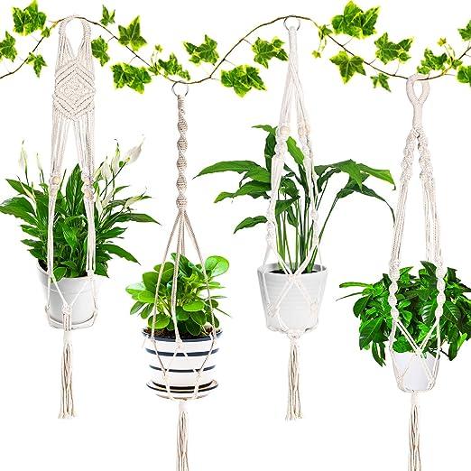 Emooqi Colgador para Plantas, Macramé para Colgador Macetas Exquisito Macramé Plantas|Cuerda De Algodon|4 Patas 41inch|Tejidas a Mano|Colgador de Pared Decoración del Jardín del Balcón -Paquete De 4: Amazon.es: Jardín