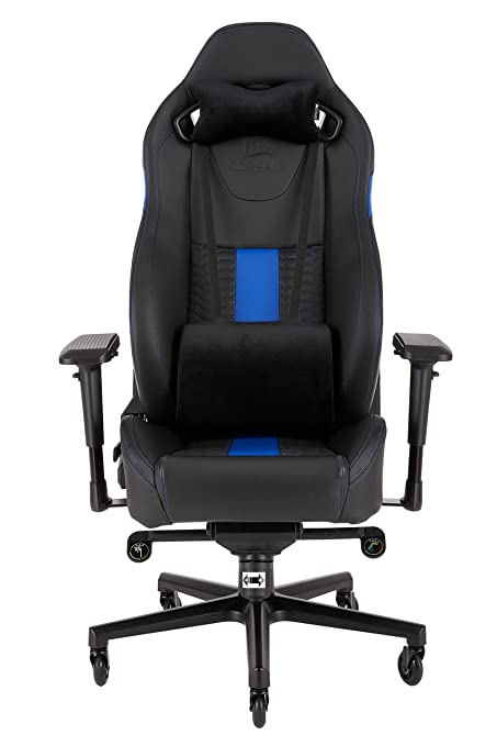 Corsair T2 Road Warrior Silla para Juegos, Polipiel, Azul, 88x69.5x37 cm