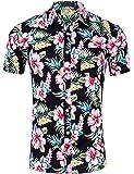 Yeokou Men's Cotton Short Sleeve Button Down Floral Print Hawaiian Beach Shirts