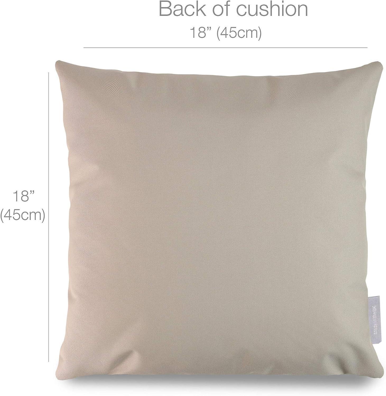 colore: grigio impermeabile con imbottitura impermeabile Celina Digby stampato e realizzato a mano nel Regno Unito 45 x 45 cm impermeabile Cuscino da giardino semicerchi