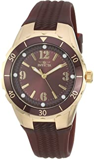 Invicta Womens Angel Quartz Stainless Steel and Polyurethane Casual Watch, Color:Brown