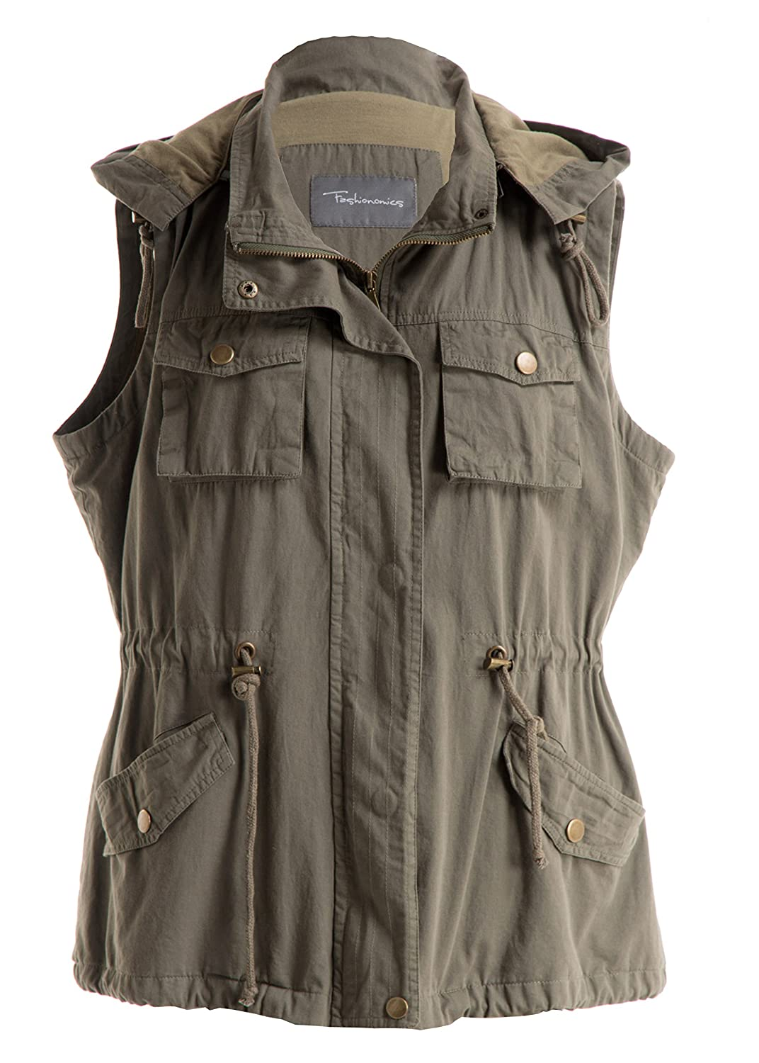 Fashionomics Womens Cotton Utility Safari Vest with Removable Hood Olive