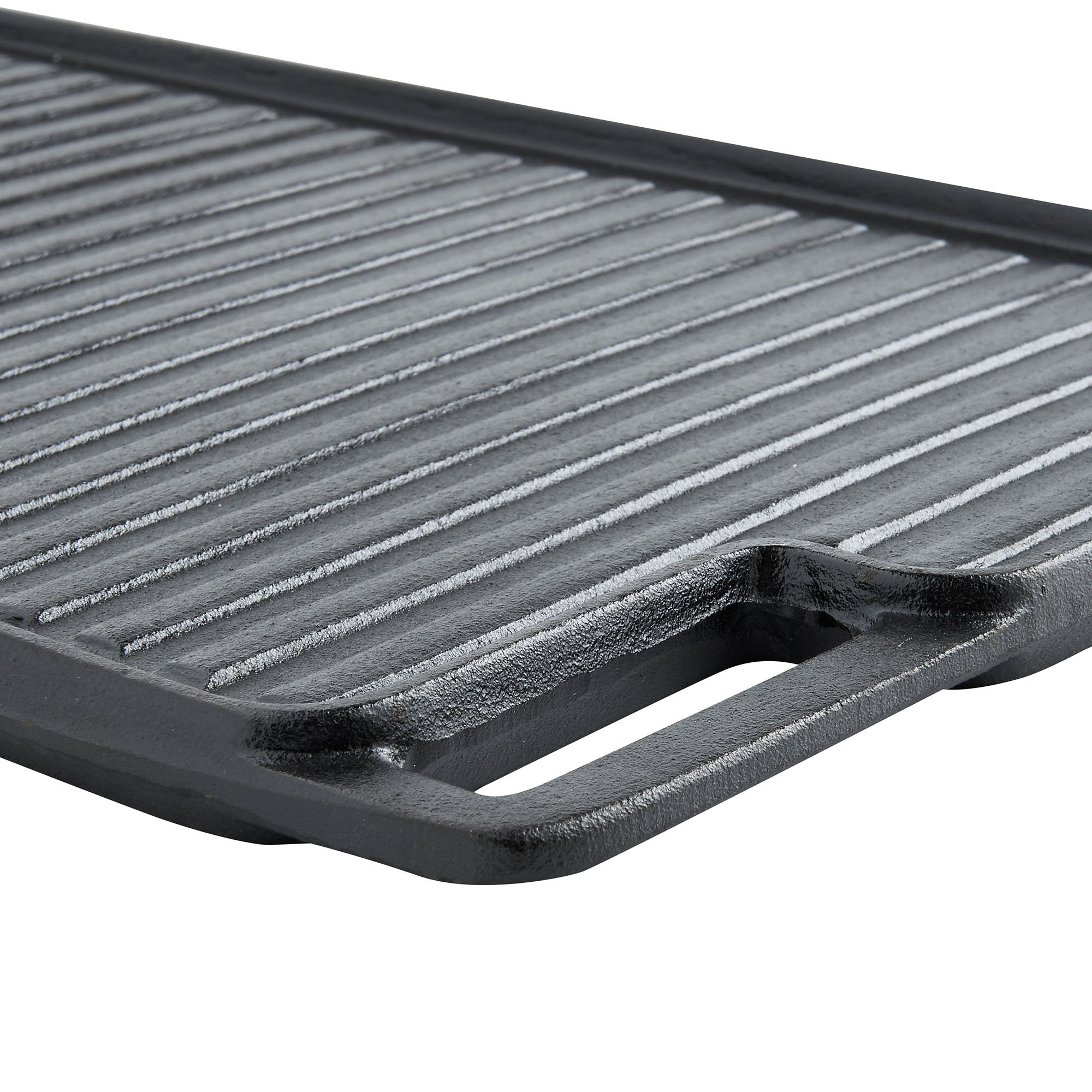 VonShef Black Pre-Seasoned Cast Iron Reversible Griddle Plate & Meat/Bacon Press18 x 10 Inches by VonShef (Image #6)