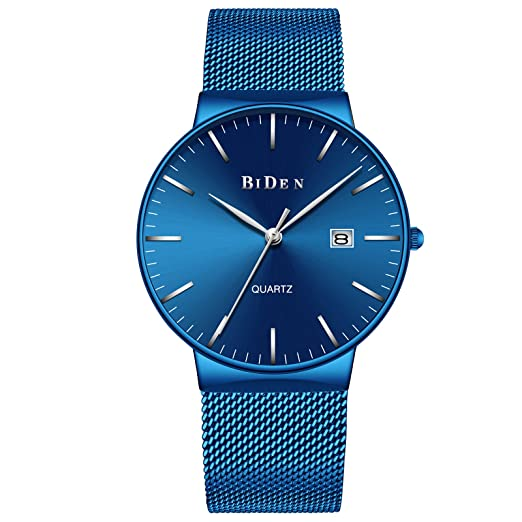 Relojes Azul para Hombre Reloj de Malla Impermeable de Acero Inoxidable para Hombres Fecha Calendario Reloj de Cuarzo Analógico de Diseño Simple Relojes ...
