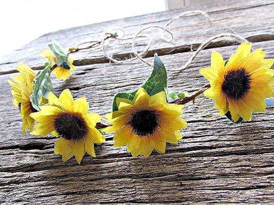 Sunflower Flower Crown Headband- Floral Hair Wreath Headpiece- Wedding Hair Accessories for Brides and Flower Girls