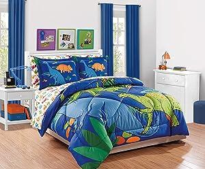 Elegant Home Multicolor Blue Green Orange Dinosaurs Design 7 Piece Comforter Bedding Set for Boys/Kids Bed in a Bag with Sheet Set # New Dinosaur (Queen)