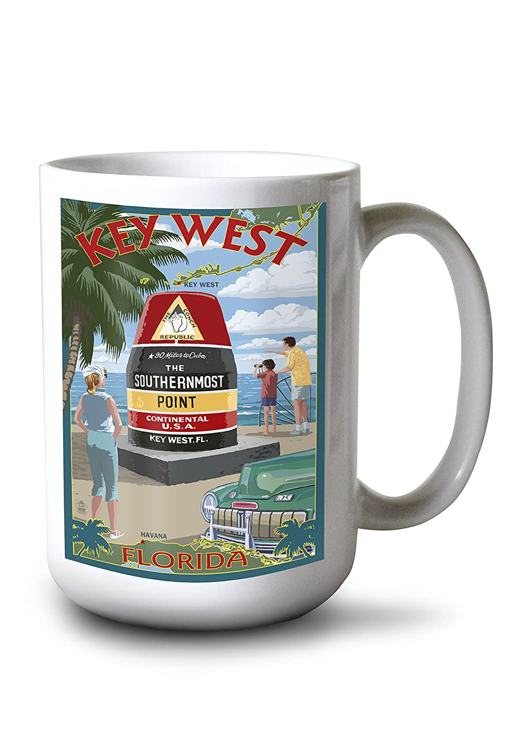 キーWest , Florida – Southernmostポイント 15oz Mug LANT-3P-15OZ-WHT-33341 B077RQD5TH  15oz Mug