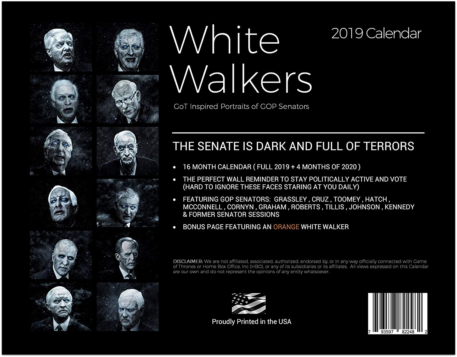 Senate 2020 Calendar Amazon.: White Walkers GOP Senators 2019 Calendar : Office