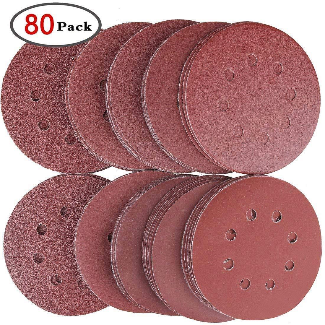 5x P80 Schleifteller für Bohrmaschine Schleifscheiben Polieraufsatz