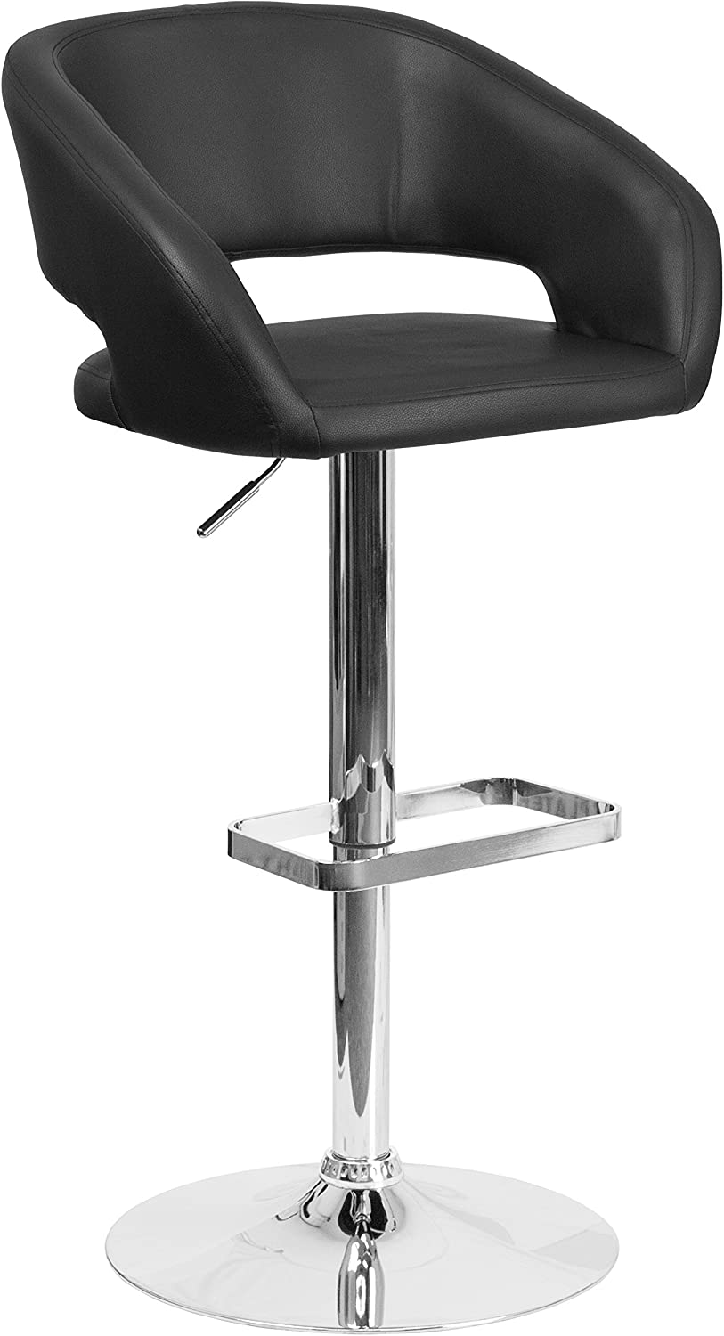 Flash Furniture Contemporary Black Vinyl Adjustable Height Barstool with Rounded Mid-Back and Chrome Base