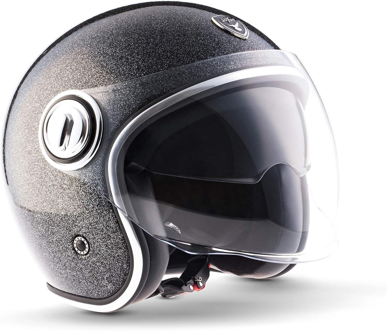 Soxon Sp 888 Pro Flakes Black Jet Helm Motorrad Helm Roller Helm Scooter Helm Moped Mofa Helm Chopper Ece 22 05 Sonnenvisier Leather Design Schnellverschluss Slimshell Tasche Xl 61 62cm Auto