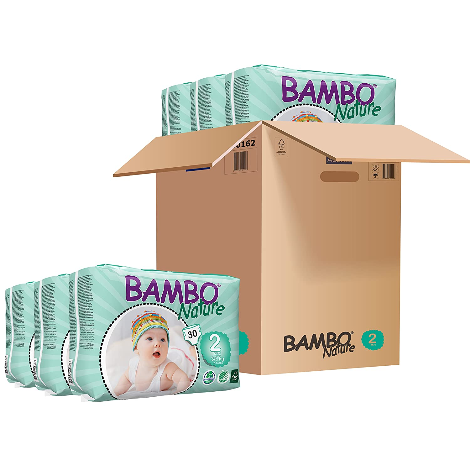 Bambo Mini Nappies (Size 2) 3-6kg, 6-13LB - 6 x packs of 30 (180 Nappies) Abena 310132-zzz-6