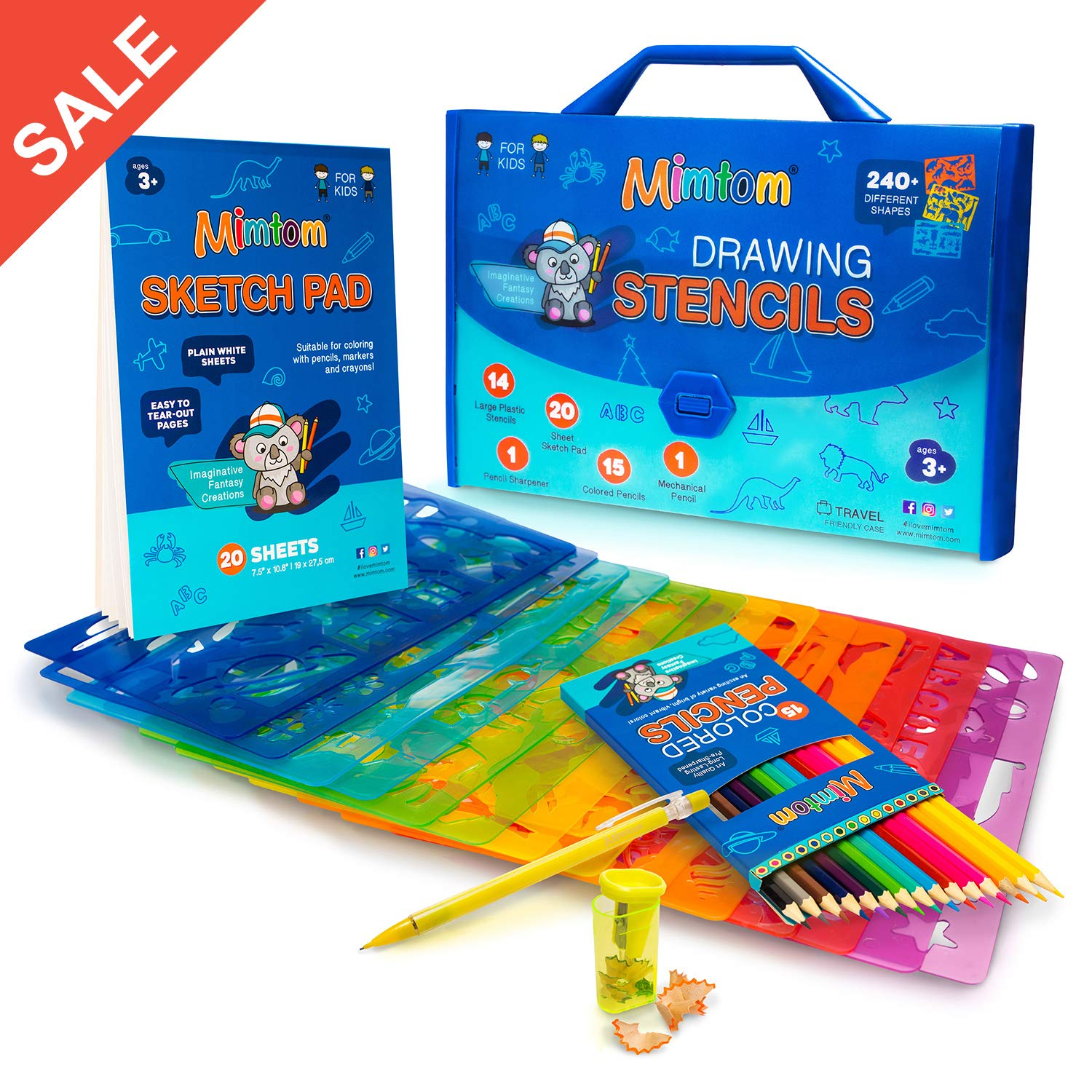 Mimtom Drawing Stencils Set For Kids And Boys 51 Arts And Crafts Stencil Kits With Over 240 Creative Shapes To Unleash Your Child S World Of
