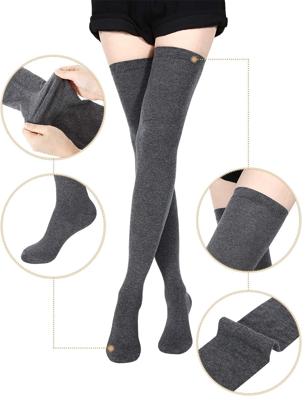 3 Pairs Extra Long Socks Thigh High Cotton Socks Extra Long Boot Stockings for Girls Women Black, Dark Grey, Wine Red, 3