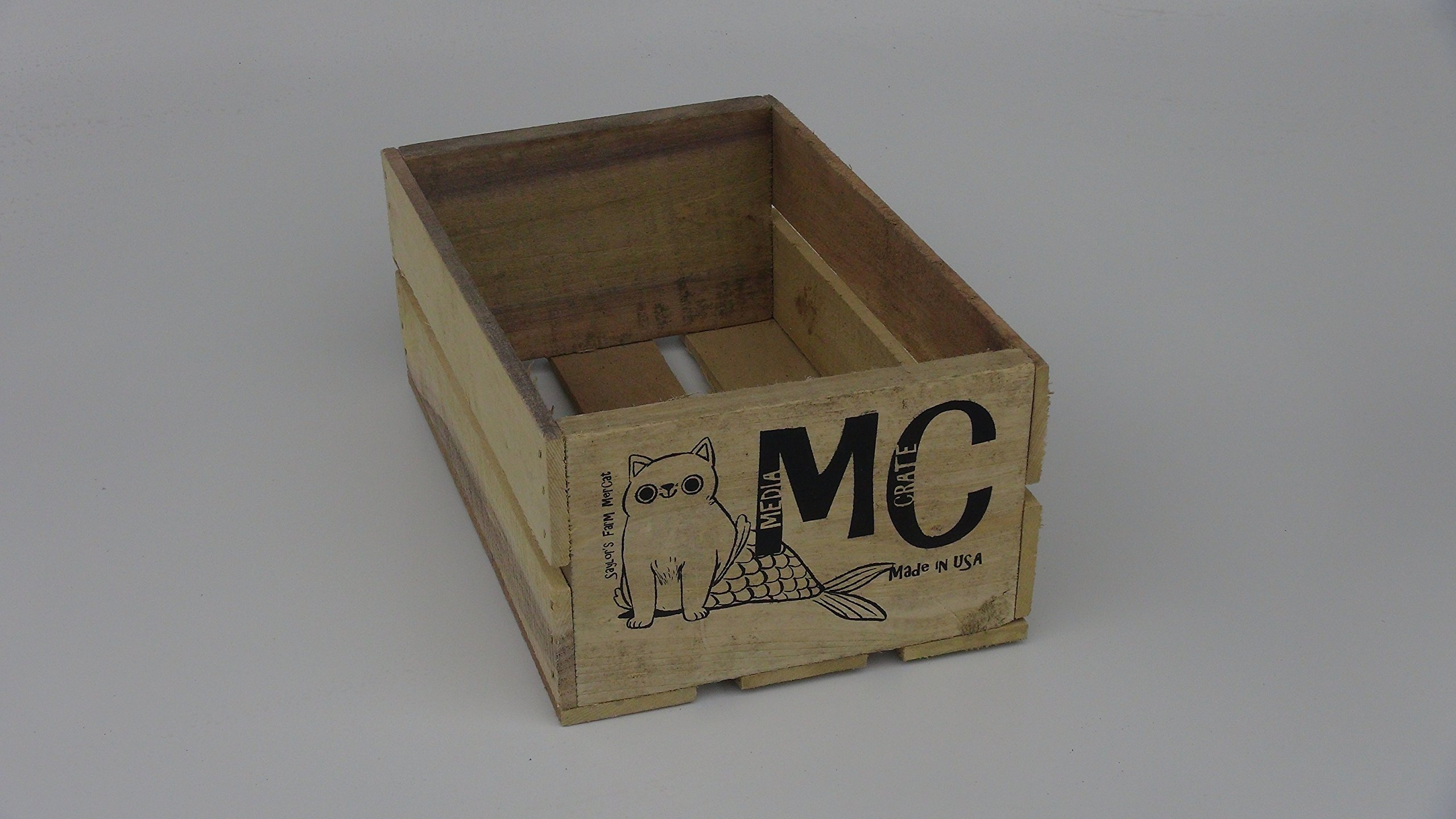 Rustic Wood Mercat DVD Media Crate - Video Games, CD, Storage