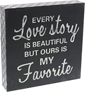 Barnyard Designs Every Love Story is Beautiful Wooden Box Wall Art Sign, Primitive Country Farmhouse Home Decor Sign with Sayings 8 x 8