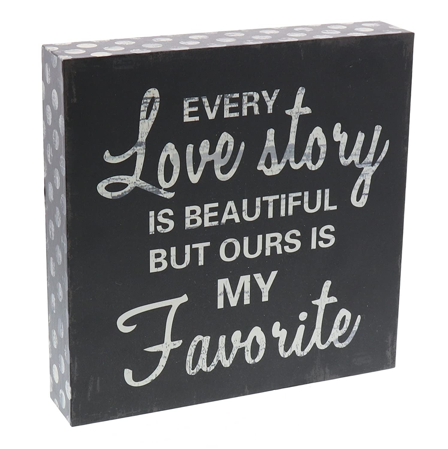 "Barnyard Designs Every Love Story is Beautiful Wooden Box Wall Art Sign, Primitive Country Farmhouse Home Decor Sign with Sayings 8"" x 8"""