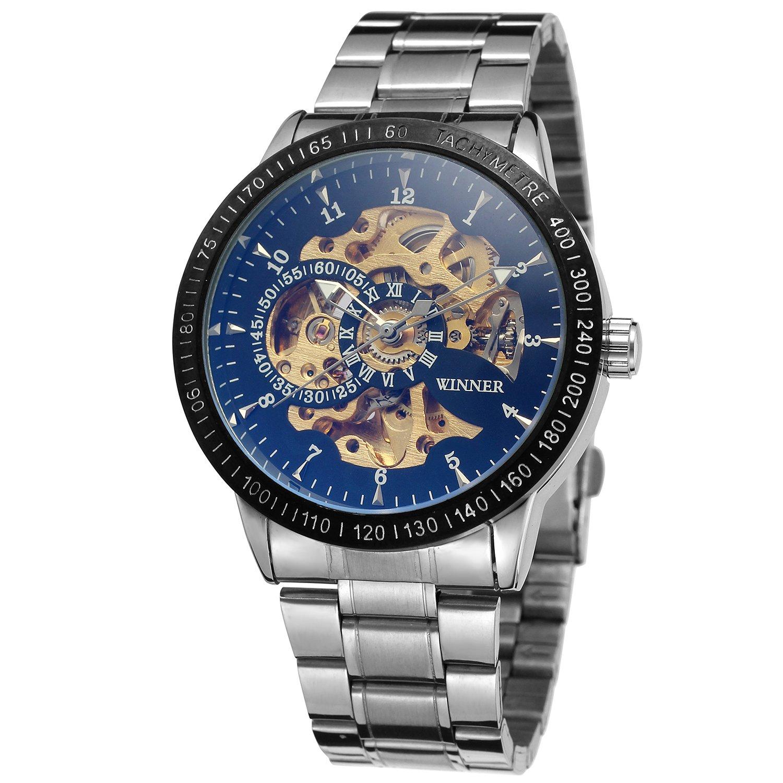 FORSININGメンズファッションDesigner自動スケルトンWrist Watch withステンレススチールBand wrg8031 m4t6 B071ZJ2KQG