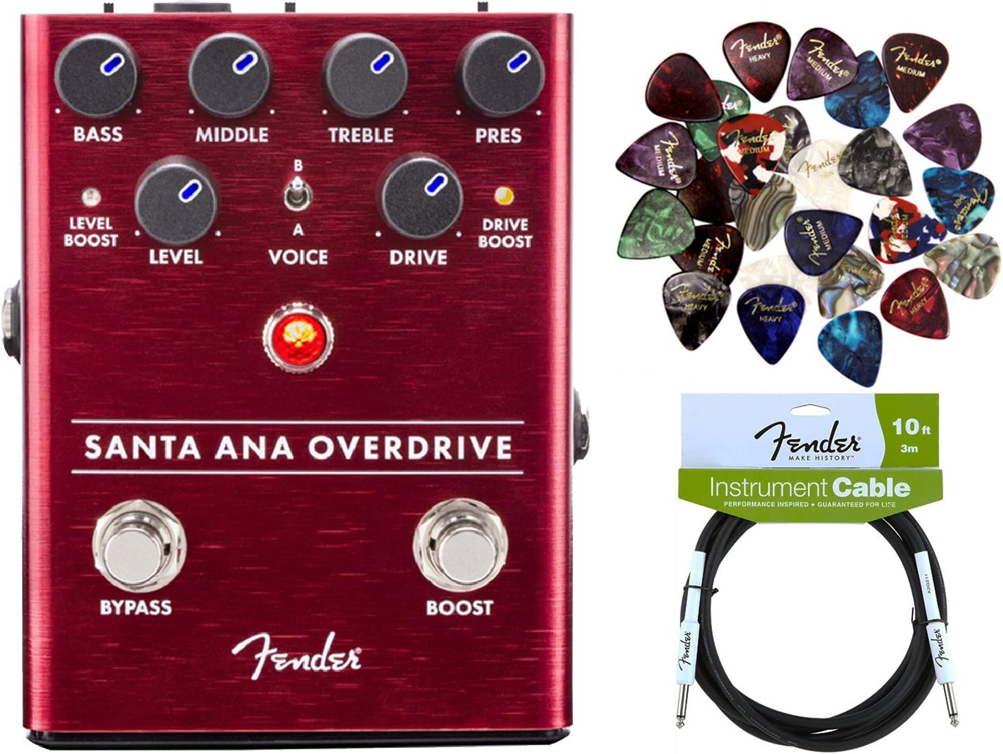 Fender Santa Ana Overdrive Pedal Bundle with Instrument Cable and 24 Picks