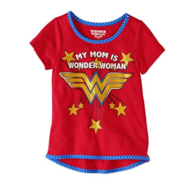 aa6e9a674 Wonder Woman Toddler GirlsMy Mom Is My Wonder Woman Short Sleeve Gold  Glitter Tee (3T