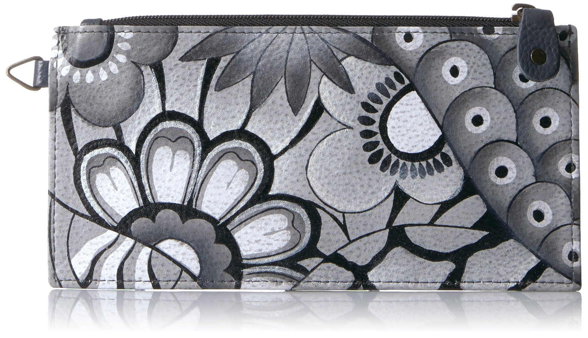 Anna by Anuschka Women's, Handpainted Leather Organizer Wallet,Patchwork Pewter, One Size