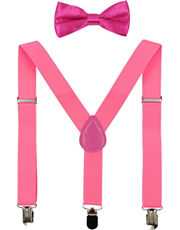 JTC Boys Adjustable Suspender Bow-tie Set Solid Red Black