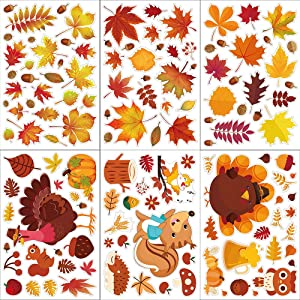 Macute Fall Art Window Sticker Clings Maple Leaf Decals, 6 Sheets Maple Leaves Turkey Squirrel Pumpkin Design Window Stickers for Home Office Decorations Thanksgiving Holiday Party Decor Ornaments