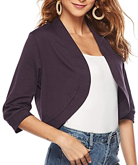 51538e8c2c AAMILIFE Womens 3  4 Sleeve Cropped Cardigans Sweaters Jackets Open Front  Short Shrugs for Dresses Christmas gift ideas