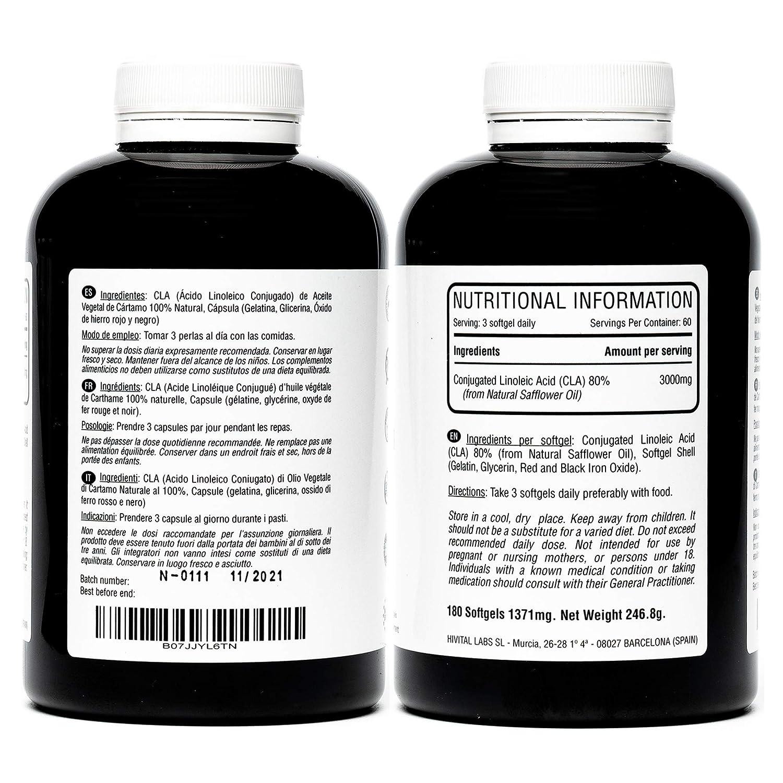 CLA Ácido Linoleico Conjugado 3000 mg por dosis | 1000 mg x 180 perlas de Aceite Vegetal de Cártamo (Suministro para 2 meses) | Para Perder peso, ...