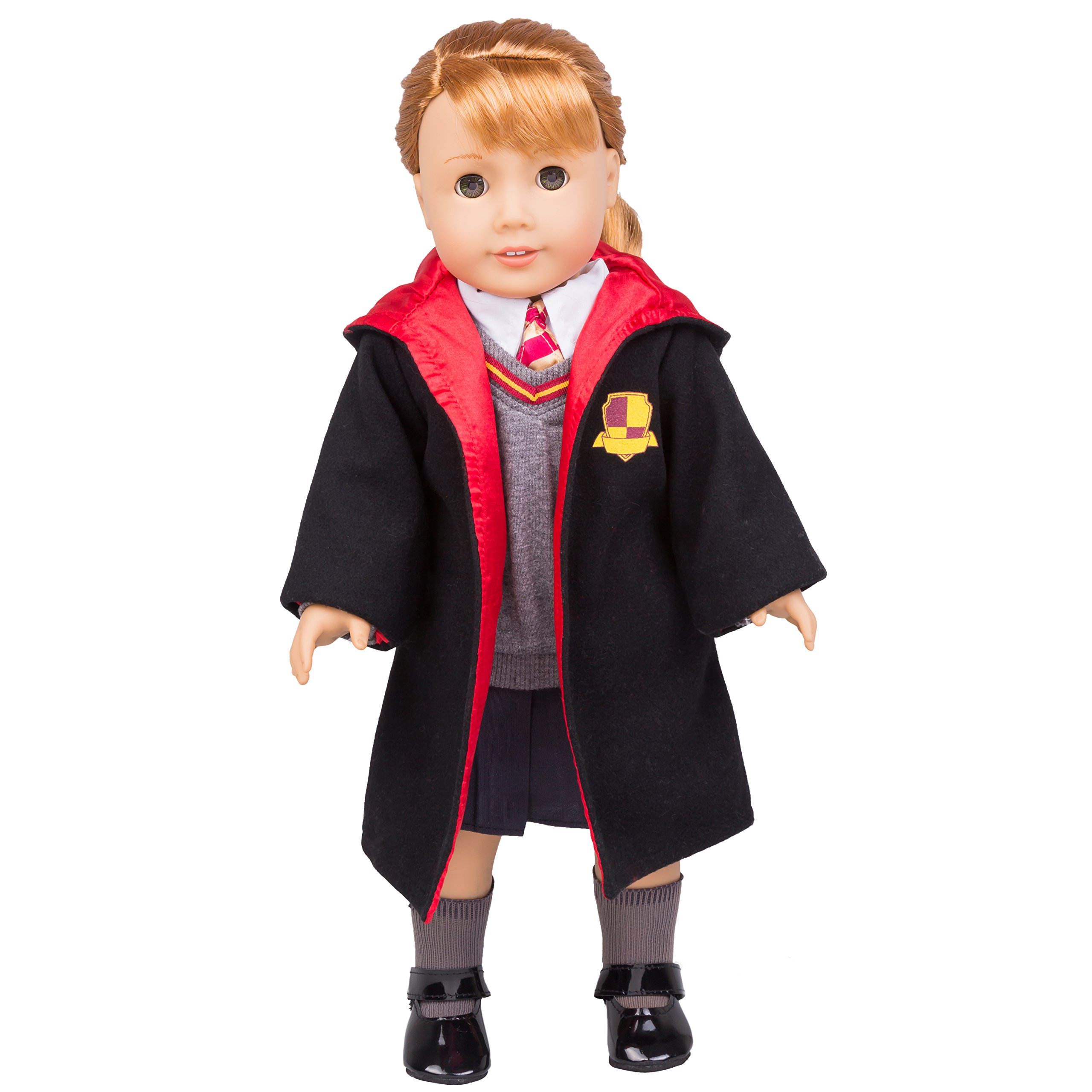 Dress Along Dolly Hermione Granger Inspired Doll Clothes for American Girl and 18'' Dolls: 7pc Hogwarts-Like School Uniform (Includes Shirt, Skirt, Sweater, Tie, Socks, Robe, and Shoes)