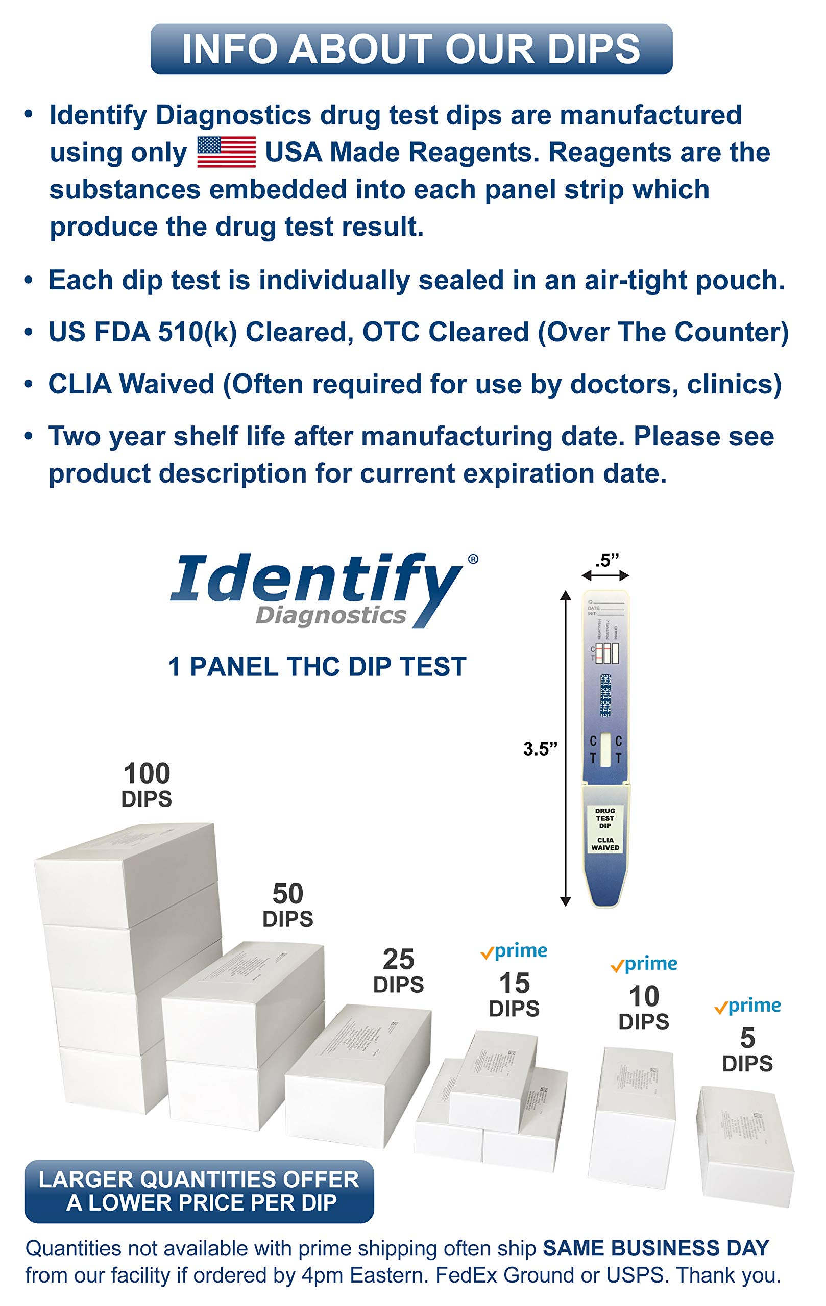 100 Pack Identify Diagnostics THC Marijuana Drug Test Dip - 50 ng/mL Results in Minutes FDA Approved, CLIA Waived, OTC Approved #ID-THC by Identify Diagnostics (Image #1)