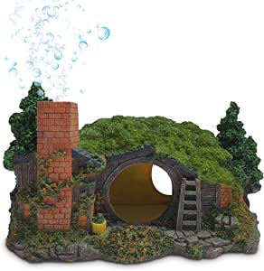 MIDAS MARS Fish Tank Decor Hobbit House – Medium Sized Resin Fish Cave Aquarium Decor – Unique Chimney Air Bubbles –No Color Peel – Ideal for Snake Tank, Betta Fish Tank Decorations