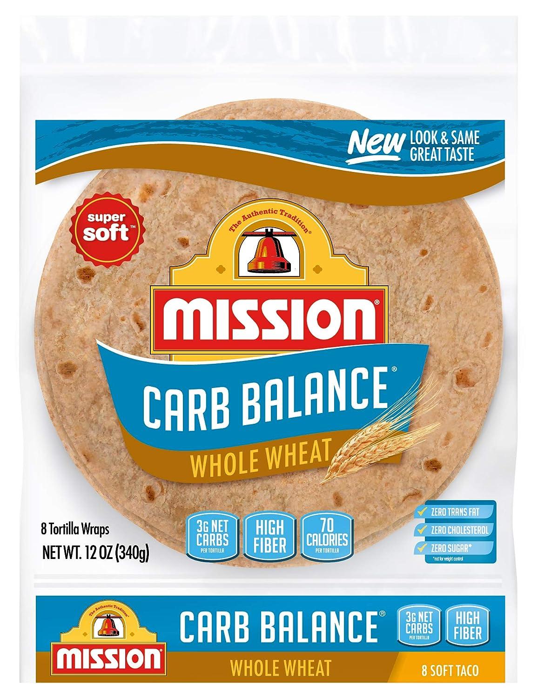 Amazon Com Mission Carb Balance Soft Taco Whole Wheat Tortillas Low Carb Keto Whole Grains High Fiber No Sugar Medium Size 8 Count Prime Pantry