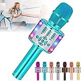 Amazmic Kids Karaoke Microphone Machine Toy Bluetooth Microphone Portable Wireless Karaoke Machine Handheld with LED Lights,