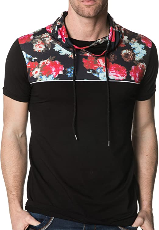 Gov Denim - T-Shirt Homme Col Imprimé Fleuri