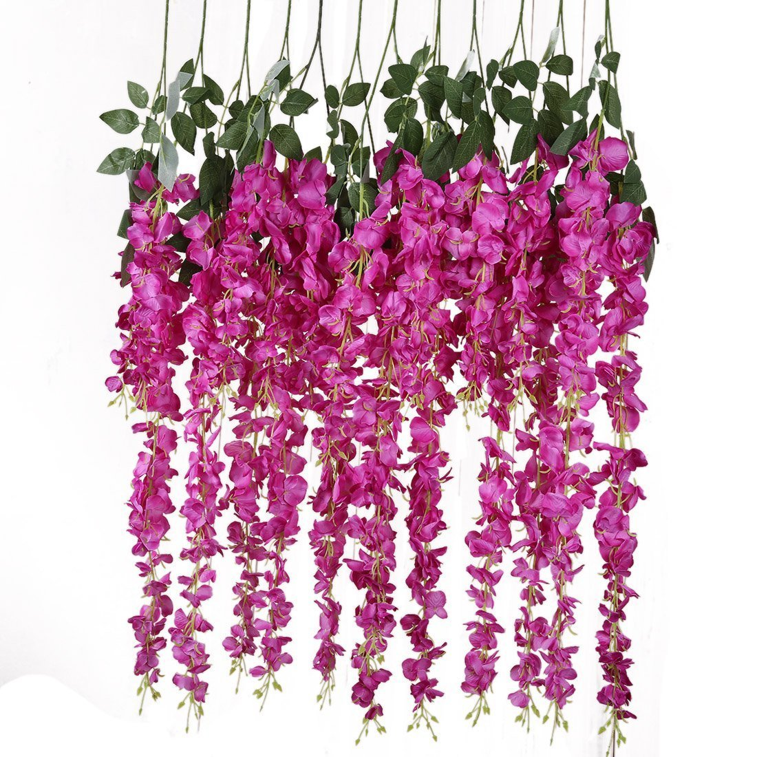 Artificial Silk Wisteria Vine Rattan Garland Fake Hanging Flower Wedding Party Home Garden Outdoor Ceremony Floral Decor,3.18 Feet, 6 Pieces (Rose Red-2)
