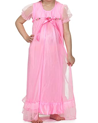 3ae6aa68e5 Laura Dare Big Girls Bright Pink Short Sleeve Peignoir Nightgown w  Scrunchie