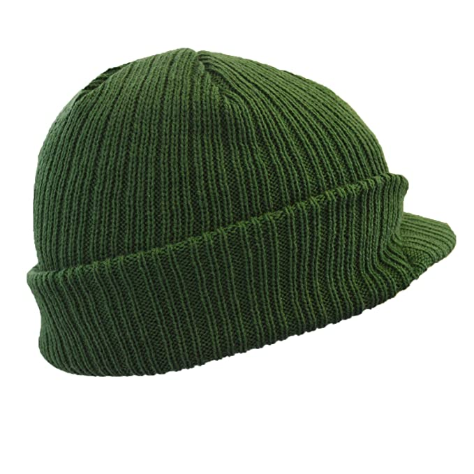 57b6d9efc73 Euro Peaked Beanie Knitted Hat with Peak in 6 Colours Winter Beany (Army  Green)  Amazon.co.uk  Clothing
