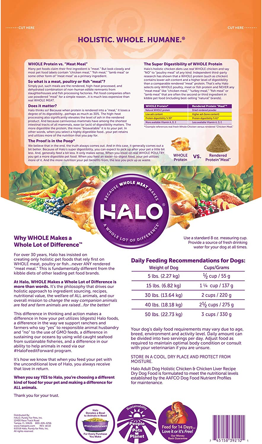 Halo Natural Dry Dog Food, Chicken Chicken Liver Recipe