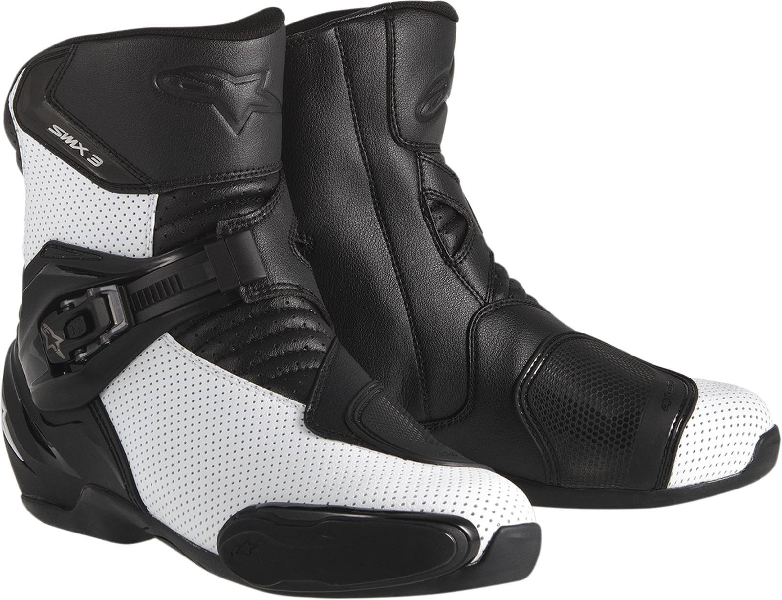 Alpinestars SMX 3 SportBike Motorcycle Boots CE Certified White Vented Euro 42 US Size 8 by Alpinestars