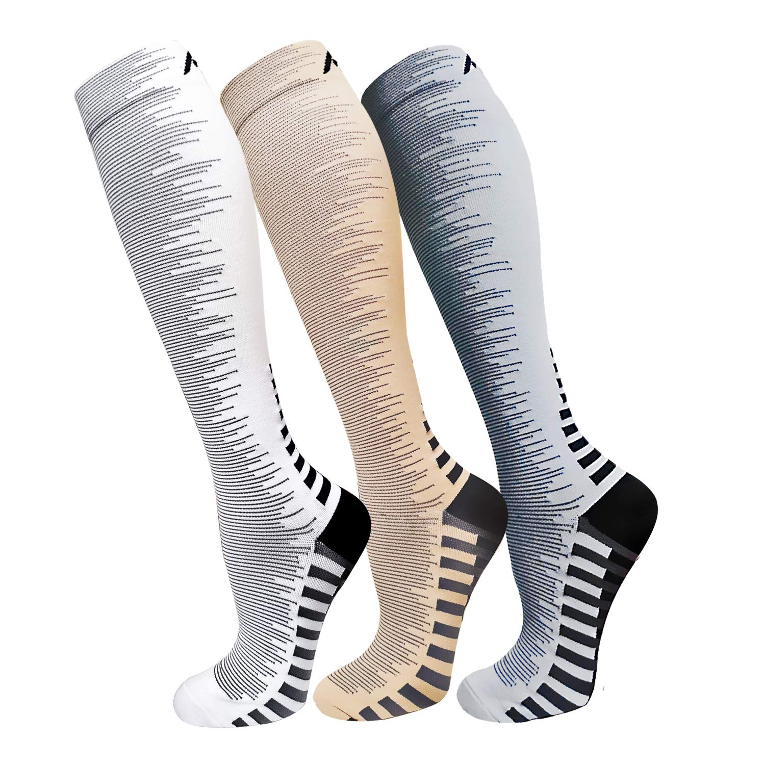 Compression Socks For Men & Women(3 Pairs)- Best For Running,Athletic,Medical,Pregnancy and Travel -15-20mmHg (L/XL, Multicoloured 11) by FuelMeFoot