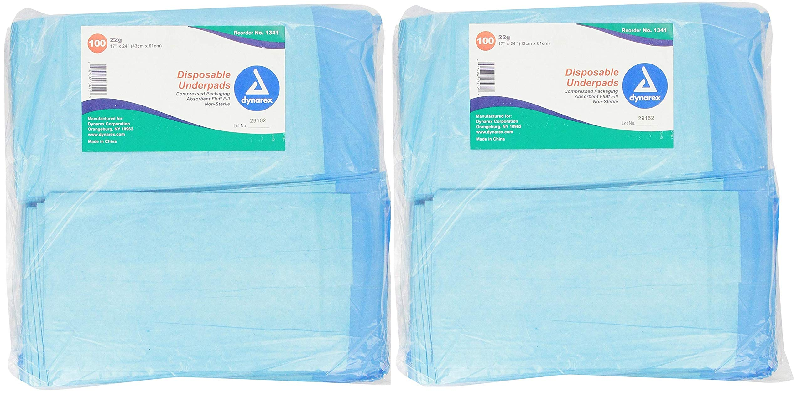Dynarex Disposable Underpad, 17 X 24 Inches, 100 Count (Pack of 2)