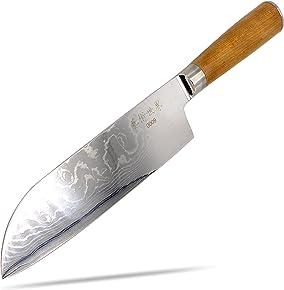 Santoku Damast Messer Küchenmesser 67-lagig 67 Lagen Damaszener Stahl - Santoku Klinge 18cm - Griff aus Kirschbaum-Holz - limitierte Auflage, edel und scharf japanische asiatische Küche